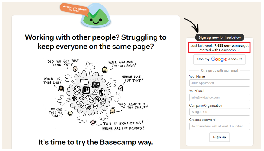 Basecamp Prova Social